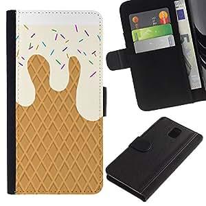 Planetar® Modelo colorido cuero carpeta tirón caso cubierta piel Holster Funda protección Para SAMSUNG Galaxy Note 3 III / N9000 / N9005 ( Crema de la galleta dulces Summer Sun)