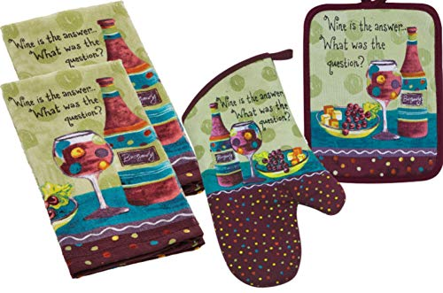 Kay Dee Designs Wine Theme Kitchen Linen Set - 4 Piece Bundle Includes 2 Terry Towels, 1 Oven Mitt, and 1 Potholder in a Wine is The Answer - Designs Kay Dee Wine
