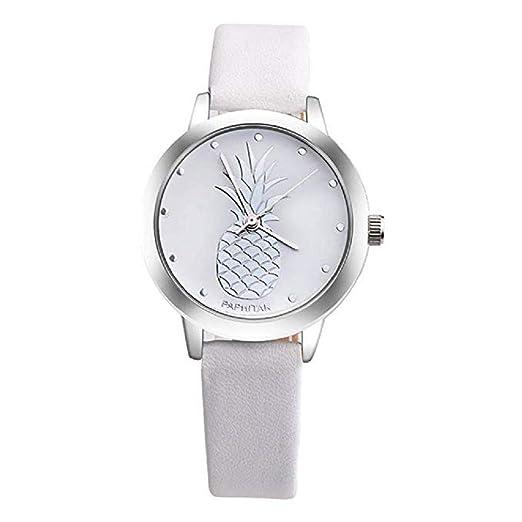 ¡Promoción Últimas Mujeres Relojes de Cuarzo piña Relojes para Mujer Relojes de Cuero Reloj de Mujer (Blanco): Amazon.es: Relojes
