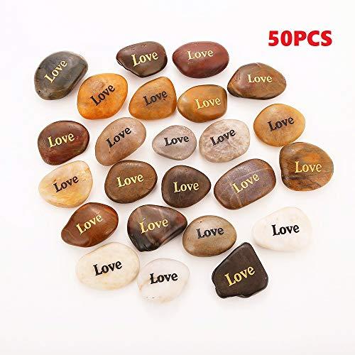 50PCS Love RockImpact Love Stone Engraved Rocks Inspirational Prayer Stones Gift Chakra Healing Palm Spirit Affirmation Stones Positive Encouraging Rocks Wholesale Bulk Love Rock, 2