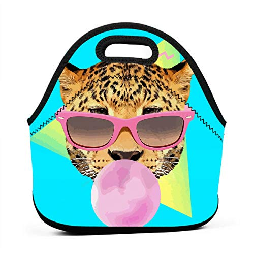 90s Style Bubble Gum Leopard Lunch Bag Tote Reusable School Picnic Carrying Lunchbox Container Organizer For Kids Girls Boys - Leopard Bubble Gum