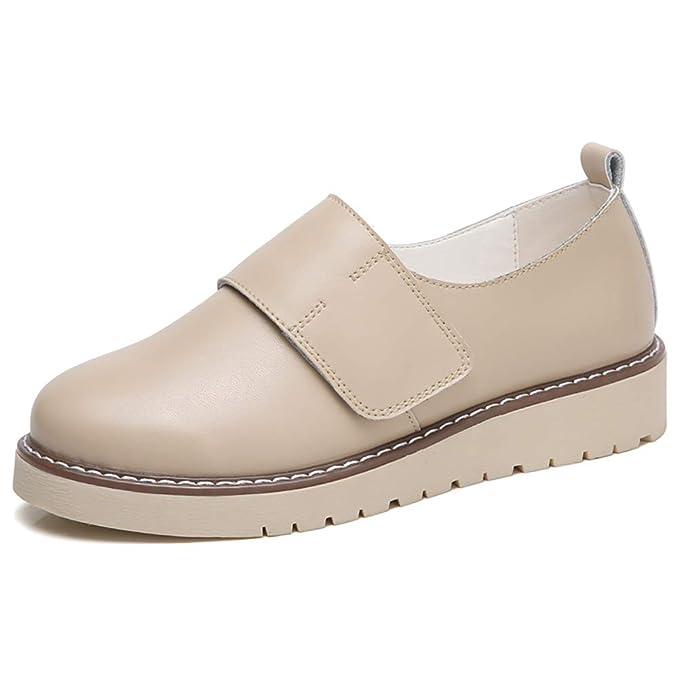 FHTDW Zapatos Planos De Cuero Clásicos De Las Mujeres Resbalón En Espuma De Memoria Mocasines Acolchados,Beige,36: Amazon.es: Ropa y accesorios