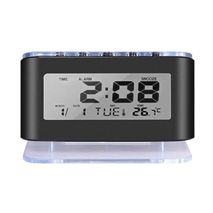 ES-BLUS Despertador Led Digital Reloj Batería Temperatura Fecha Y Hora Pantalla, Negro