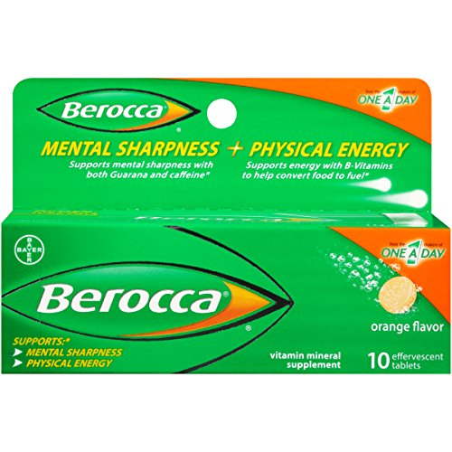 Berocca with Caffeine and Guarana to Support Mental Sharpness and B Vitamins to Support Physical Energy, Orange Flavor, Effervescent Tablets, 10 Count