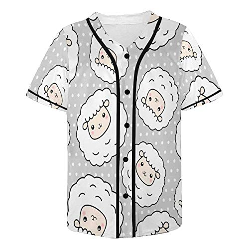 INTERESTPRINT Men's Cute Sheep Lamb with Polka Dots Baseball Jersey T-Shirts Plain Button Down Sports Tee ()