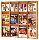 Wooden Mallet LM-16 Divulge Oak & Acrylic Wall-Mounted Magazine & Brochure Rack (12 to 24 Pockets) in Medium Oak