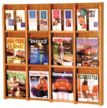 Wooden Mallet LM-16 Divulge Oak & Acrylic Wall-Mounted Magazine & Brochure Rack (12 to 24 Pockets) in Medium Oak