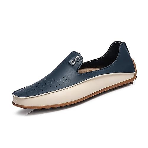 Hombres Zapatos causales Mocasines de Cuero Mocasines conducción Pisos para Hombre Zapatos de Negocios: Amazon.es: Zapatos y complementos