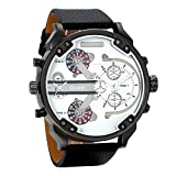 Avaner Casual Fashion Mens Big Face Round Dial Dual Time Zone Analog Display Quartz Movement PU Leather Band Wrist Watches