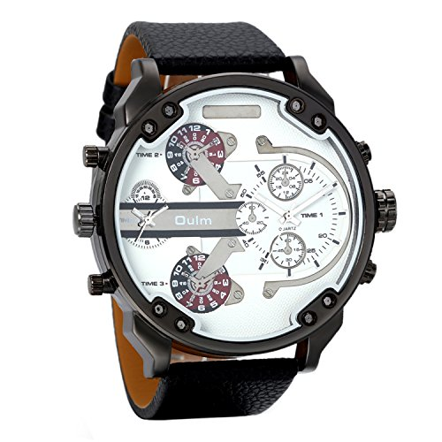 Dual Dial Watch (Avaner Casual Fashion Mens Big Face Round Dial Dual Time Zone Analog Display Quartz Movement PU Leather Band Wrist Watches)