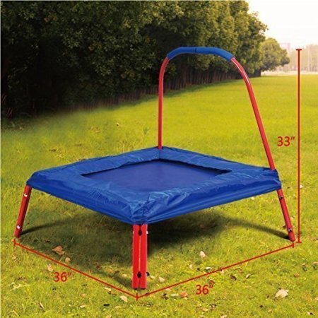 Giantex-3-X-3-Square-Jumping-Trampoline-w-Handle-Bar-and-Safety-Pad-for-Kids-Bluered