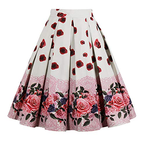 9e6a4b9ce76 Floral Print Vintage Skirts Women Plus Size High Waist Knee-Length Casua  A-Line Party Skirt