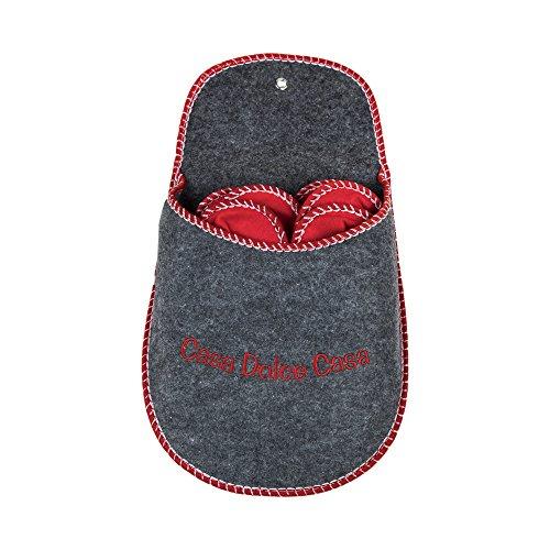CARIOR Pantofole in Feltro Set 4 Paia - con Contenitore Forma Pantofola, Colore Grigio.