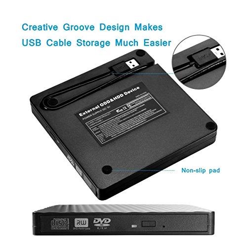 External DVD Drive, Fellee Portable Slim USB 3.0 DVD/CD Re-writer Burner Superdrive, High Speed Data Transfer Optical +/-RW Drive (High speed USB 3.0) by Fellee (Image #3)