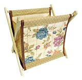 DINY Home & Style Standing Magazine Rack Wood with Floral Bamboo Design Folding for Easy Storage