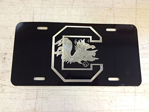 Diamond Etched USC Gamecock Car Tag on Aluminum License Plate