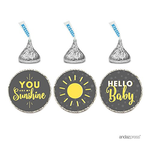 Andaz Press Chocolate Drop Labels Trio, Gender Neutral Baby Shower, You Are My Sunshine, Yellow Gray with Printed Gold Glitter, 216-Pack ()