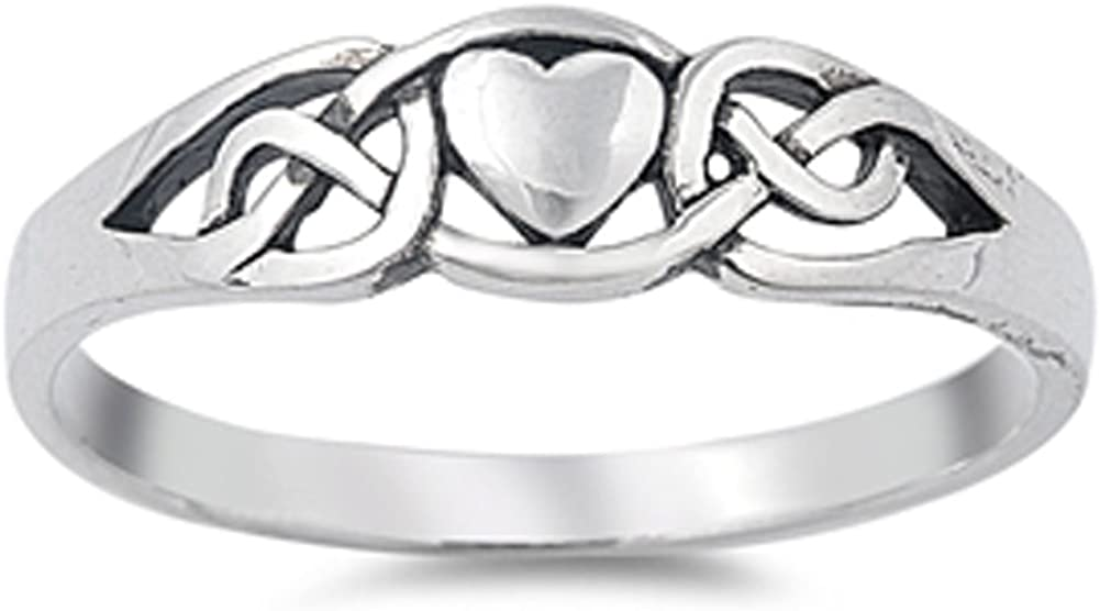 Celtic Knot Heart Petite Eternity Promise Ring Sterling Silver Band Sizes 4-10