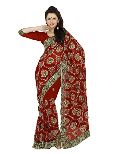 Mirchi Fashion Women's Faux Georgette Zari Party Wear Saree Free Size Maroon