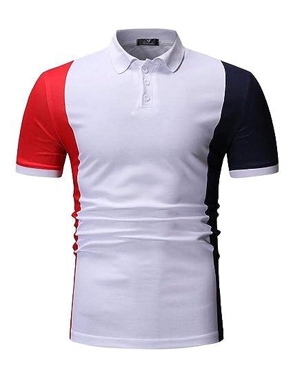 45e52b29044e BYWX Men Short Sleeve Casual Color Blocked Summer Classic Lapel Golf Polo  Shirt at Amazon Men s Clothing store