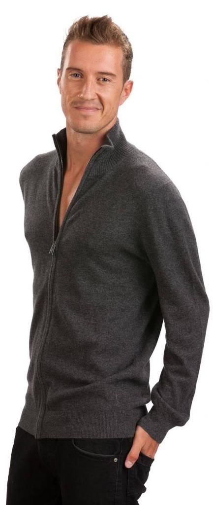 Men's Zip Cardigan - 100% Cashmere - by Citizen Cashmere, Dk Gr XL 42 103-09-04 by Citizen Cashmere (Image #2)