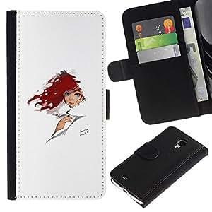 All Phone Most Case / Oferta Especial Cáscara Funda de cuero Monedero Cubierta de proteccion Caso / Wallet Case for Samsung Galaxy S4 Mini i9190 // Red Head
