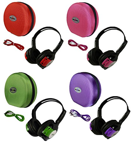 4 Pack Kid Sized Wireless Infrared Universal Car DVD IR Automotive Colored Adjustable 2 Channel Headphones With Case and 3.5mm Auxiliary Cord by Wisconsin Auto Supply