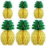 Mtlee 6 Pieces Tissue Paper Pineapples for Party Supplies Table Decoration Hawaiian Theme Wedding Home Decor