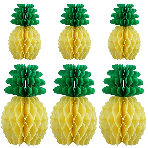 TOODOO 6 Pieces Tissue Paper Pineapples for Party Supplies Table Decoration Hawaiian Theme Wedding Home Decor ()