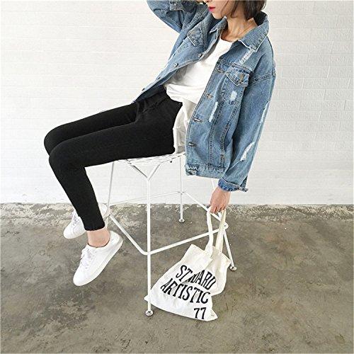 Dapengzhu Jeans Jacket Women Casacos Feminino Slim Ripped Holes Denim Jacket Femme Elegant Vintage Bomber Jacket New Basic Coats at Amazon Womens Coats ...