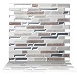 Tic Tac Tiles 10-Sheet Peel and Stick Self Adhesive Removable Stick On Kitchen Backsplash Bathroom 3D Wall Sticker Wallpaper Tiles in Como Pebble
