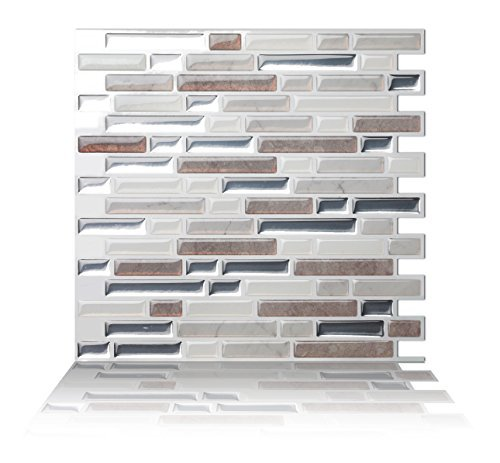 Tic Tac Tiles AntiMold Peel and Stick Wall Tile in Como Pebble 10 Tiles