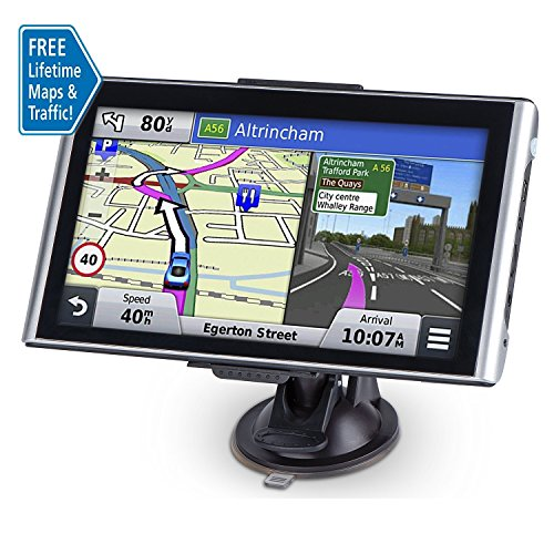 Portable Car GPS Navigation, 7 inch 8GB Spoken Turn-by-Turn Voice Prompt GPS Navigator with Lifetime Maps and Traffic Built-in Multi-Media and FM
