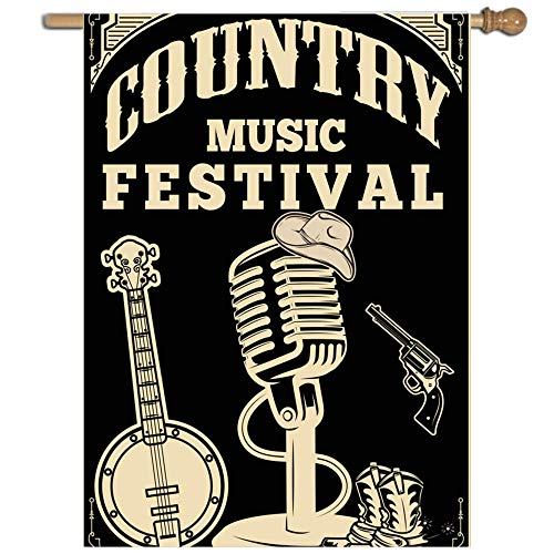 Old Style Country Flag - VASQUEZLIA Home Decorative Single Sided Country Music Festival Old Style House Flag, Quality Polyester Flag for Indoor/Outdoor - 27 x 37 inch