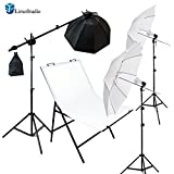 LimoStudio Photography Photo Studio Foldable Photo Shooting Table with Softbox Umbrella LED Continuous Lighting Boom Stand Kit , AGG1677