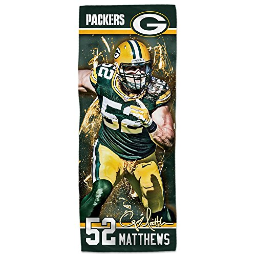 "Mission NFL Player EnduraCool Microfiber Towel, Green Bay Packers Clay Matthews, 12"" x 30"""