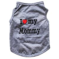 Floralby I Love My Daddy Mommy Puppy Small Dogs Vest T-Shirt Cotton Summer Sleeveless Tank Top Pet Apparel Clothes
