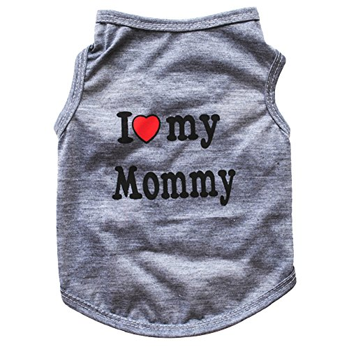 (Floralby I Love My Daddy Mommy Puppy Small Dogs Vest T-Shirt Cotton Summer Sleeveless Tank Top Pet Apparel Clothes)