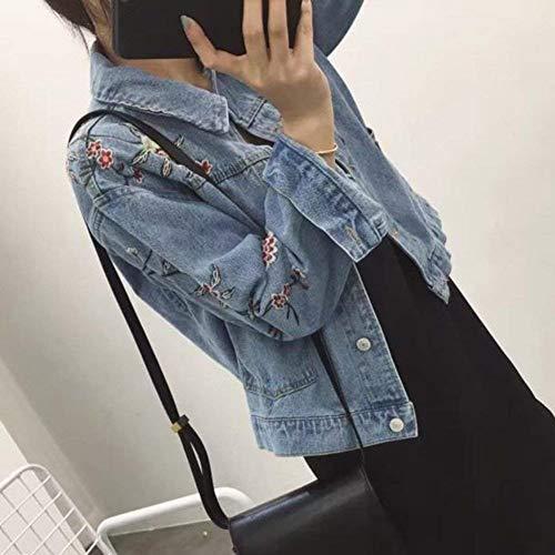 Donna Primaverile Eleganti Maniche Autunno Giacca Hellblau Tendenza Lunghe Ricamate Stlie Coat Grazioso Jeans Ragazze Fidanzato Denim Sciolto Moda Bavero Casual Stile wfgCCq