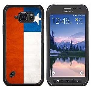 EJOOY---Cubierta de la caja de protección para la piel dura ** Samsung Galaxy S6Active Active G890A ** --Nacional bandera de la nación País Chile