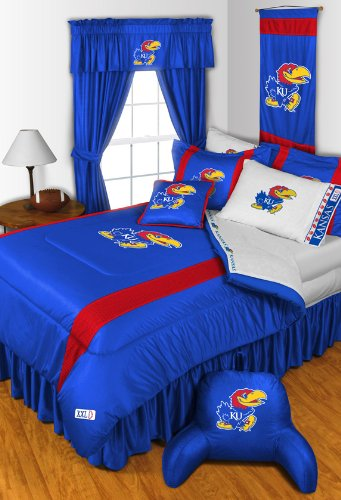 Kansas Jayhawks NCAA 8 Pc QUEEN Comforter Set and One Matching Window Valance/Drape Set (Comforter, 1 Flat Sheet, 1 Fitted Sheet, 2 Pillow Cases, 2 Shams, 1 Bedskirt, 1 Matching Window Valance/Drape Set) SAVE BIG ON BUNDLING!