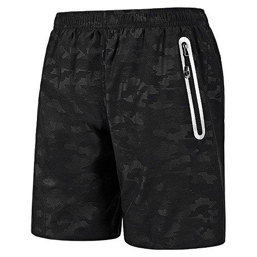 Leezepro Sporthose kurz Herren weich leicht schnell trocknend mit Reißverschlusstasche Sport Shorts für Fitness, Jogging, Workout (Verpackung/MEHRWEG)