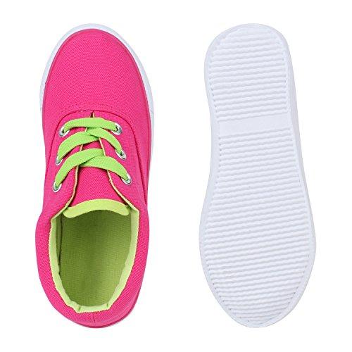 Stiefelparadies Kinder Sneakers Low Bunte Turnschuhe Freizeit Bequem Flandell Pink Bernice