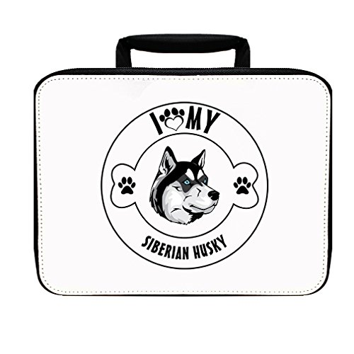 SIBERIAN HUSKY DOG I LOVE PAW MY Insulated Lunch Box Bag - Husky Paw Print