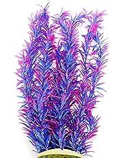 Alegi Aquarium Plastic Plants 16.5 inch, 2Pcs Artificial Plastic Plant Decoration Ornament Safe for All Fish