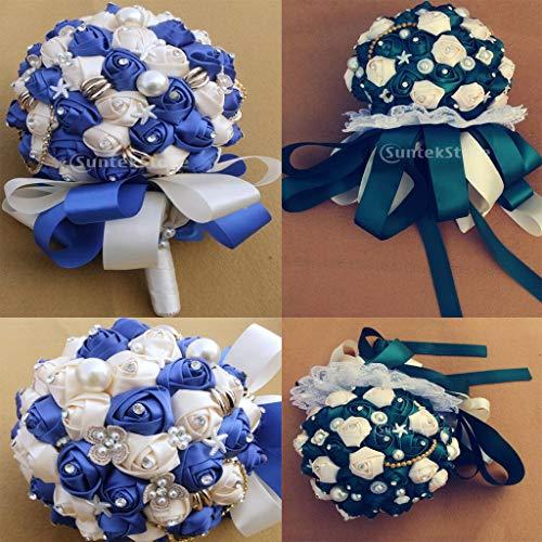 BROSCO Bridal Bridesmaid Bouquet Silk Crystal Ribbon Pearl Wedding Rose Holding Flowers