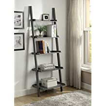 """Grey Finish 5 Tier Bookcase Shelf Ladder Leaning - 72"""" Height"""