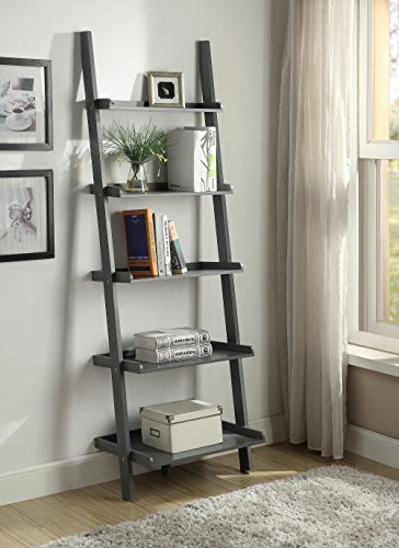 Grey Finish 5 Tier Bookcase Shelf Ladder Leaning 72