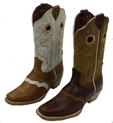 Dona Michi Donna Vera Pelle Cowboy / Ragazza Stivali Roper Western Rodeo Biker Pulcino Tan