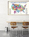 Famous American Authors By State Water Color Fine Art Print. US Map Poster